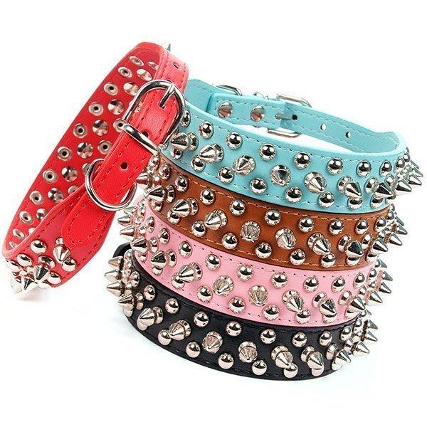 aolove mushrooms spiked rivet studded adjustable pu leather pet collars - best spiked dog collars
