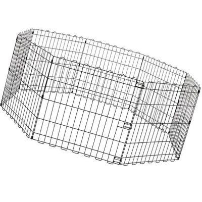 amazonbasics foldable metal pet exercise and playpen - best portable dog fence