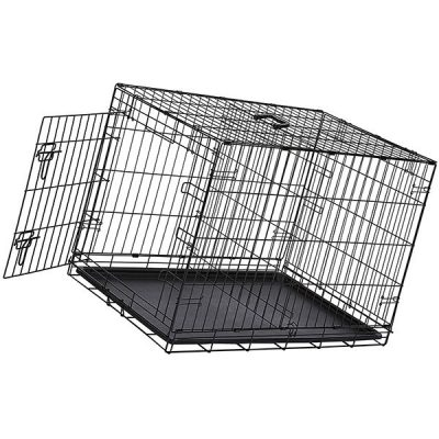 amazonbasics single-door & double-door folding metal dog or pet crate - best dog crate
