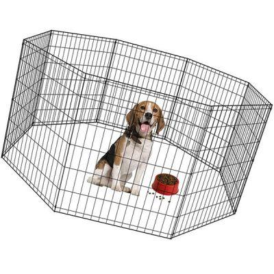 bestpet puppy pet playpen 8 panel indoor outdoor metal protable folding animal exercise dog fence - best portable dog fence