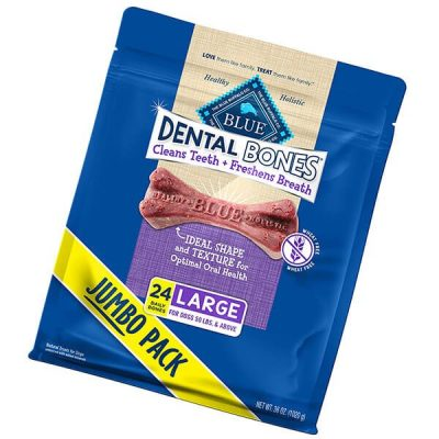 blue buffalo dental bones natural adult dental chew dog treats - best dog treats