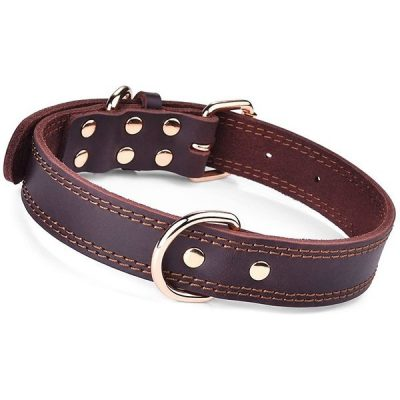 daihaqiko leather dog collar - best rolled leather dog collars