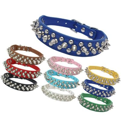 dogs kingdom soft leather mushrooms rivet and spikes studded dog collar - best spiked dog collars