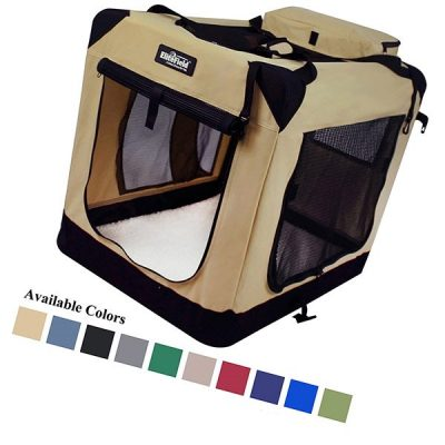 elitefield 3-door folding soft dog crate - best indoor dog kennels