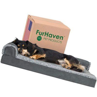 furhaven pet - two-tone l shaped orthopedic dog bed - best dog beds
