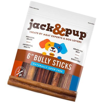 jack&pup 6-inch premium grade odor free bully sticks - best bully sticks