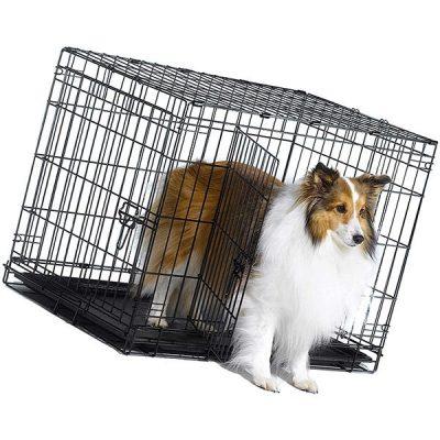 new world folding metal dog crate single door & double door dog crates - best large dog crates