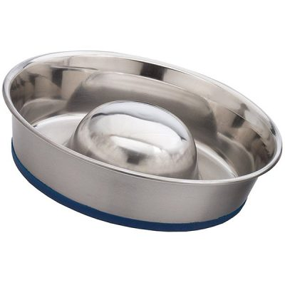 ourpets durapet slow feed premium stainless steel dog bowl - best stainless steel dog bowls