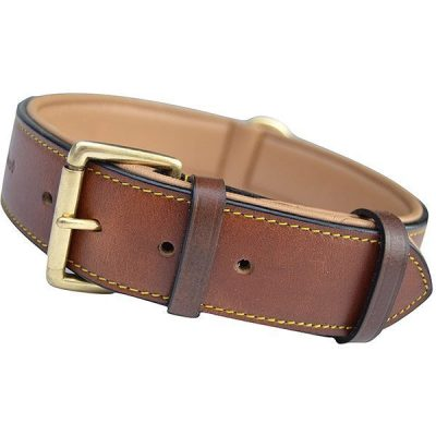 soft touch collars - luxury real leather padded dog collar - best wide dog collars