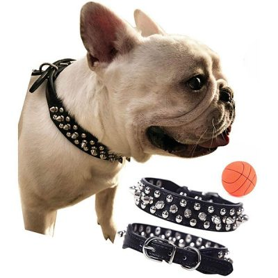 teemerryca adjustable microfiber leather spiked studded dog collars - best spiked dog collars