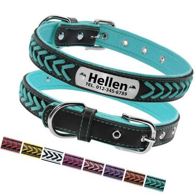 vcalabashor custom leather collar - best rolled leather dog collars